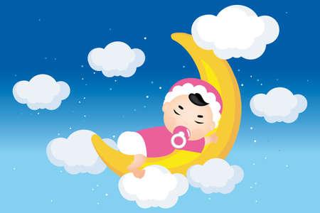 Rêver bébé sur la lune avec des étoiles, des nuages ??sur le ciel nocturne - Illustration Vecteurs