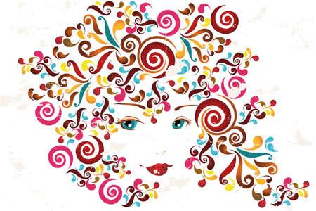 抽象的な渦巻き - 抽象的な図を持つ女性の顔  イラスト・ベクター素材