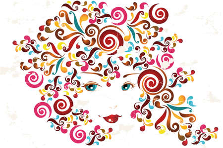 Face of a woman with abstract swirls - Abstract Illustration Vector