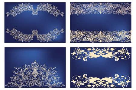 victorian border: Set of floral golden vintage designs on deep-blue banner