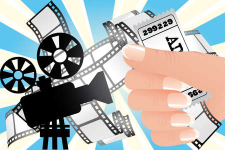 Movie time Illustration with filmstrip, ticket in hand and cinematograph on fantasy background Vector