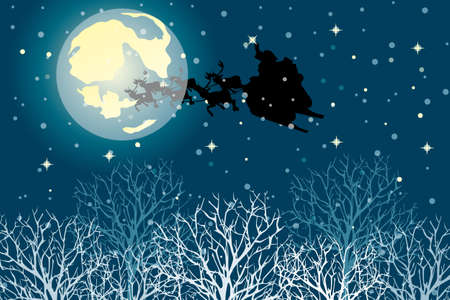 Santa claus in his sleigh under the moon on nightly sky with snowflakes an stars Vector