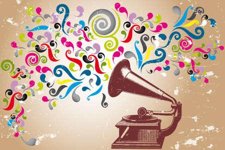 boite a musique: Tourne-disque de cru avec des remous color�s abstraits