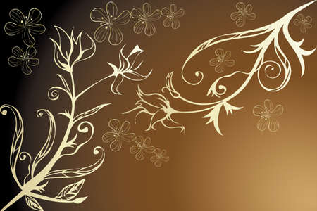 Golden floral design - Illustration with room for text Stock Vector - 12486797