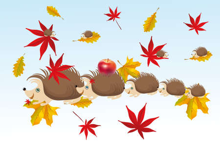Hedgehog family in autumn - Illustration for children Vector