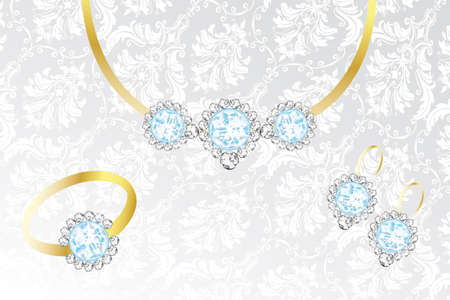 topaz: Jewelry set with topaz and diamonds - Illustration on silver-white fabric