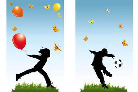 自然とテキストのための部屋で蝶の風船、サッカー、子ども達の遊びのシルエットとバナー