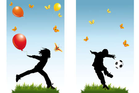 Banner with silhouettes of playing children, football, balloons, butterflies in nature and room for text Vector