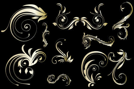 Golden floral vintage pattern isolated on black background Stock Vector - 12486782