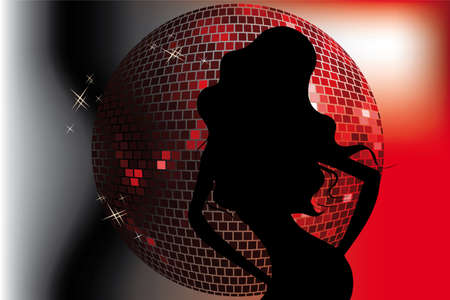 sexy woman disco: Party template with disco ball in red colors and black silhouette of a dancing girl
