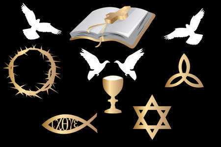 various religious symbols and doves isolated on black background