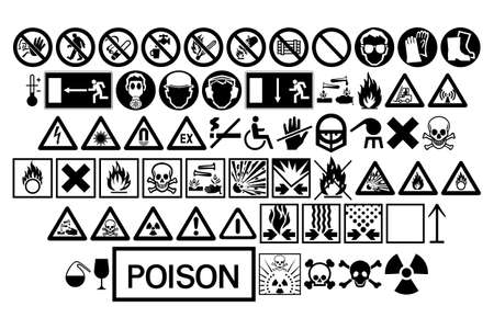 Various black warning signs isolated on white background