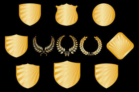 Collection of golden shields and wreaths - isolated on black background Vector