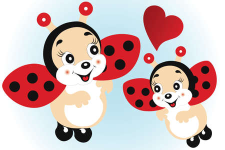 Cute ladybirds in love - illustration Vector