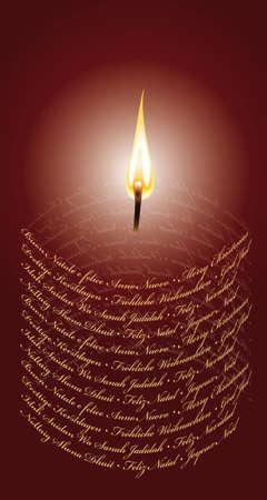 蝋燭の形で国際クリスマス カード