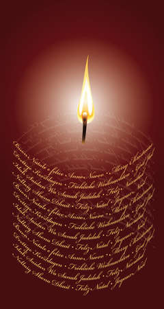 International Christmas Card in form of a candle Çizim