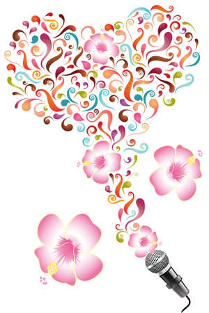 Design for poster with abstract colorful swirls, flowers and microphone