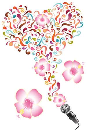 Ontwerp voor affiche met abstracte kleurrijke wervelingen, bloemen en microfoon