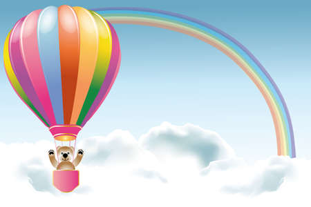 Teddy on holiday trip in hot air balloon in clouds under the rainbow Ilustração