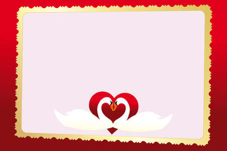 Wedding announcement card with two swans in red glossy heart and golden 3-D- frame Vector