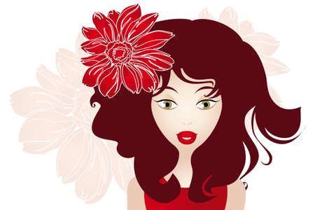 red hair beauty: Girl with red hair and flower - Illustration