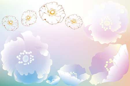 Card template with flowers in rainbow colors and room for text Stock Vector - 12825148