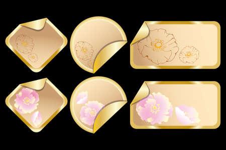 Floral vintage labels on black Stock Vector - 12825147