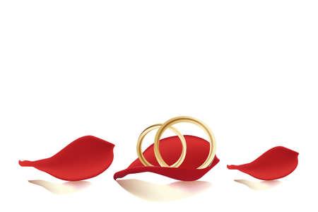anniversario di matrimonio: Fedi nuziali e petali di rosa - modello di scheda decorativo con spazio per il testo