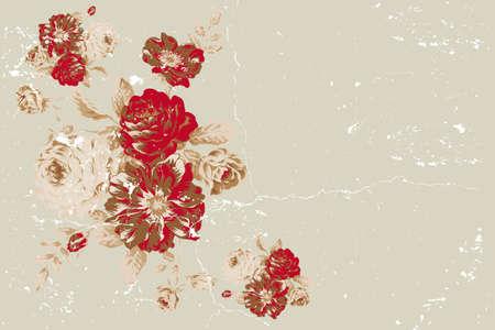 古美術品: ビンテージ ローズ テキスト用のスペースとコラージュ  イラスト・ベクター素材
