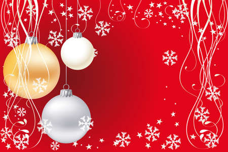 Christmas background with stars, snowflakes and baubles and room for text Vector