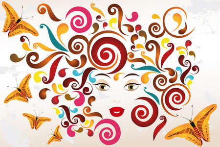 Face of a woman with abstract swirls and butterflies on old paper Vector