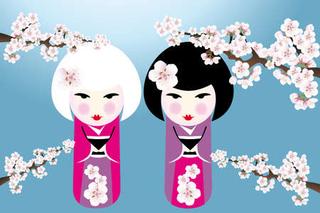 young culture: Cute japanese girls under cherry blossoms - illustration