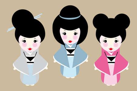 別の髪型でかわいい日本の人形