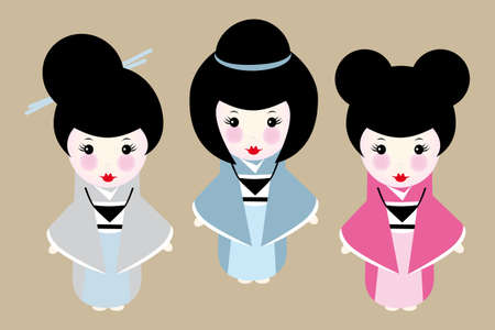 Cute japanese dolls with different hairstyles Stock Illustratie