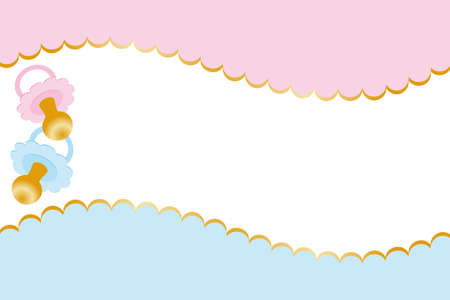 baby boy shower: Neutral baby welcome card - illustration for girls and boys usable