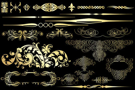 Collection of golden vintage design elements isolated on black Illustration