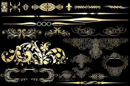 Collection of golden vintage design elements isolated on black Illustration