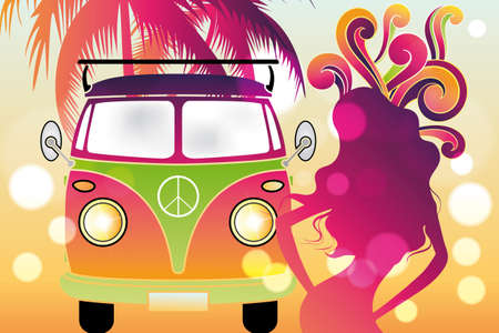 flower power: Retro flower power design with retro car, swirls and abstract silhouettes of tree and woman in rainbow colors