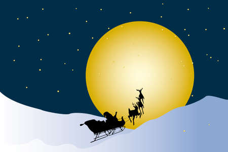 nightly: Santa Claus in his reindeer sleigh in winter landscape and nightly sky with stars