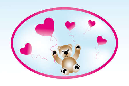 Teddy with heart-balloons - card template for Valentine Vector