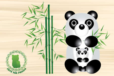 Panda bear illustration with logo and bamboo - save the panda Vector