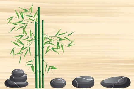 Neutraal Spa achtergrond met zwarte marmeren stenen en bamboe op beige houten structuur