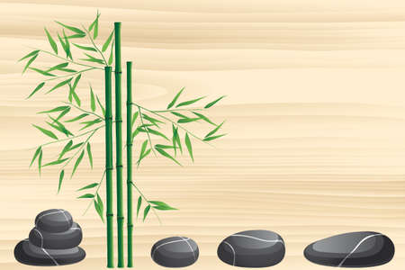zen stone: Neutral Spa background with black marble stones and bamboo on beige wooden texture Illustration
