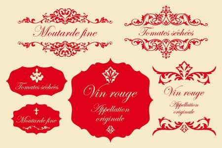 ヴィンテージ ラベルにフランス語 - マスタード、乾燥トマト、赤ワイン  イラスト・ベクター素材