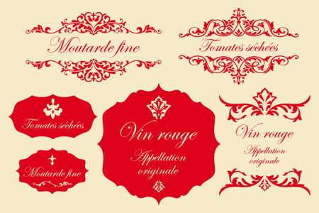 Vintage labels in het Frans - fijne mosterd, gedroogde tomaten, rode wijn