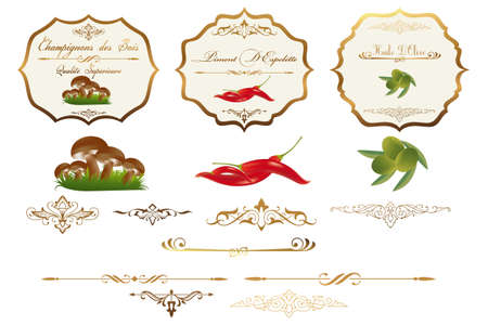 Ornate vector labels for food storage jars containers; scalable and editable vector illustrations for embellish your layout Vector