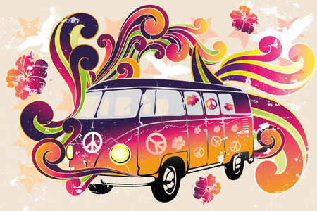 Retro van - flower power - van with colorful swirls, doves, peace signs and hibiscus as a vintage retro poster Stock Vector - 14154547