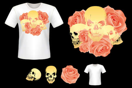temlate: Shirt design with skulls and roses - all design elements fully editable vectors