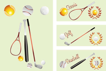 Tennis - golf - baselball  - banners with royal crests of every kind of sport  tennis, baseball and golf Vector