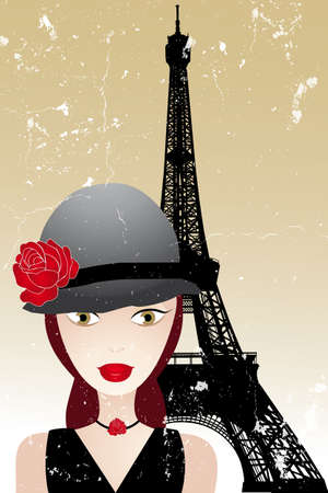 mode: Vintage poster with beautiful girl in paris -retro poster template Illustration